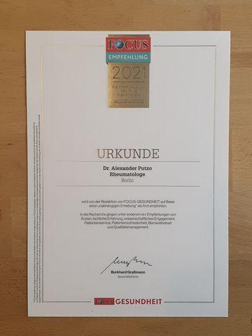 Focus Urkunde Rheumatologe Empfehlung Putzo 2021